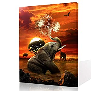 Elephant Canvas Wall Art for Bathroom, African Elephant Modern Canvas Wall Art?Elephant Playing with Water Animals Sunset Landscape Print on Canvas Art Wall Decor for Bedroom Ready to Hang 8x12 inch