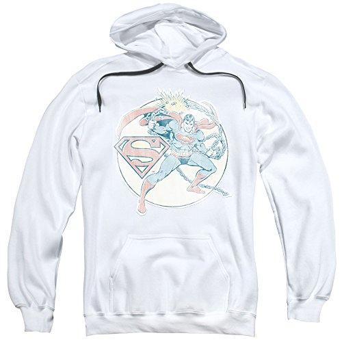 Dc Comics - De los hombres en la sudadera con capucha retro Superman Hierro, XX-Large, White