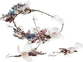 Winslet Mädchen Blume Stirnband Kranz - blühende Echtholz Gras Kiefer Ball Imitation lila Blume Lilie handgemachte gewebte Ohrringe Kranz Set Party Hochzeit Braut Kopfschmuck