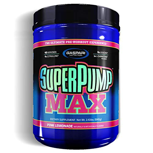 Gaspari Nutrition Super Pump Max 1 Pack x 640g - Pre-Workout Supplement - Energy, Stamina and Focus - with Caffeine and Amino acids - Full of Vitamins and Minerals (Pink Lemonade)