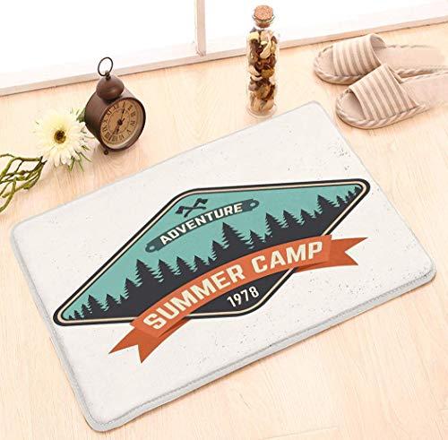 Amanda Walter Tapis à la Mode Design paillasson intérieur/extérieur (23,6 'X15,7') Patch de Camp d'été Conceplogo Impression Timbre Typographie Vintage Axes forêt