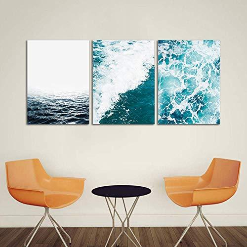 Leinwand Drucken Ozean 3 Stücke Panel Malerei Dekorieren für zu Hause Modernen Einfacher Stil Wohnzimmer Wand Dekoration Triptychon Gemälde,Noframe,70x90cmx3pcs