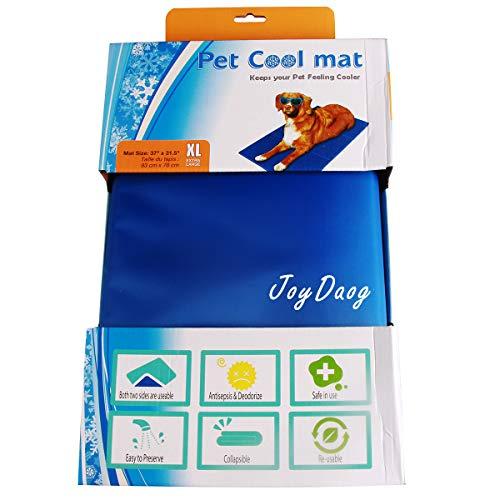 Alfombrilla de refrigeración para mascotas,Animales Nevera y Manta para Perro Fresco Cojín Azul Nevera Techo Perfecta para Camas by JoyDaog,XL(93*78cm)