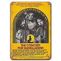 バングラデシュサインのコンサート、ヴィンテージメタルウォールアート1972年バングラデシュティンサインのコンサートマンケーブコーヒーバーの家の装飾12x16インチ
