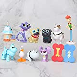 12 Pcs/Set Puppy Dog Pals Toys Action Figures 1.6'~3.2' Bob, Bingo, Rolly, Hissy, ARF and More Cake Topper Decorations