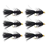 The Fly Crate Bead Head Woolly Bugger Fliegenfischen Sortiment für Forellen, Barsch, Panfish, schwarz, Size #8 | 6 Pack