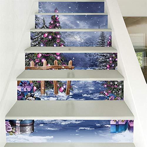 GVRPV Pegatinas para escaleras6 Piezas 3D simulación Escalera Pegatina Impermeable Pared Pegatina DIY decoración del hogar Santa Claus Escalera Pegatinas Suelo Escalera Palo