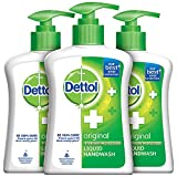 Dettol Liquid Handwash Dispenser Bottle Pump - Original Germ Protection Hand Wash (Pack of 3 - 200ml each) | Antibacterial Formula | 10x Better Germ Protection