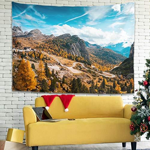 Tentenentent Hairpin Turns Mountain Road Italia patrón tapiz colcha grande – paisaje para regalo del día de la madre blanco 4 200 x 150 cm