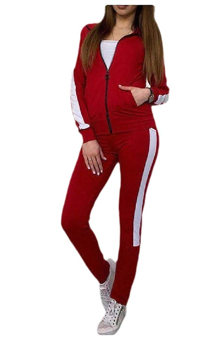 エンディング夜明けチェスをするTootess Women's With Hood Pockets Zip Up Striped Sports Suit Tracksuit