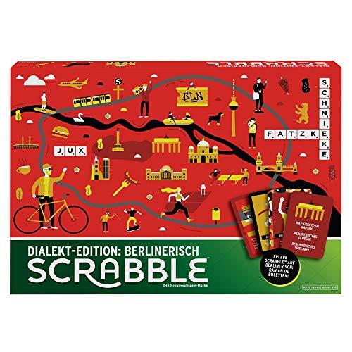 Mattel Games GPW45 - Scrabble Dialekt Edition Berlin Wörterspiel und Brettspiel geeignet für 2 - 4 Spieler, Gesellschaftsspiele und Wortspiele ab 16 Jahren