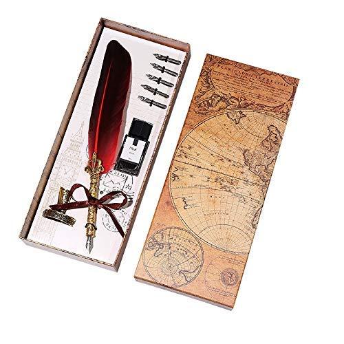 Pluma estilográfica de gama alta con plumas de pluma, juego de tinta de escritura, caja de regalo con 5 plumas, pluma estilográfica, regalo de boda LCMUS (color: amarillo claro, tamaño: gratis)