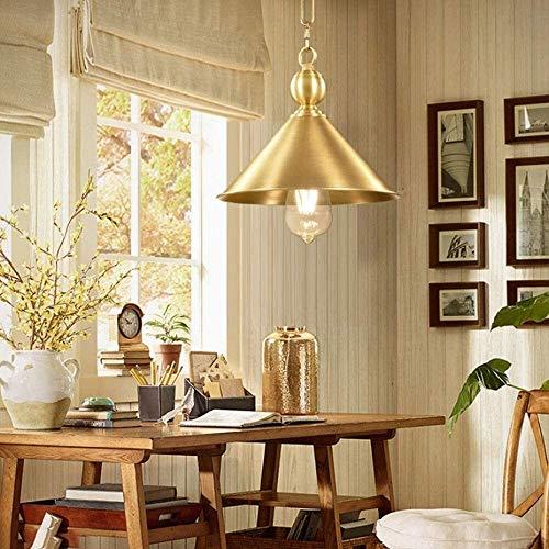 hushuigeeedd Candelabros de, Iluminación Pendiente, Vintage Industrial de Techo Lámpara Colgante de Oro con Pantallas de iluminación, American Copper Retro de la Personalidad Simple de una Sola cabez