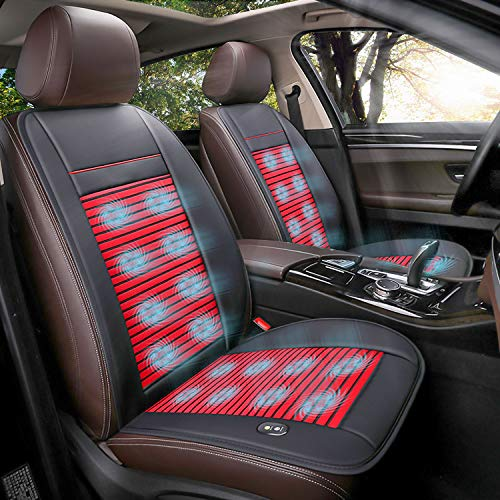 Doingart 1 Pack Cooling Car Seat Cushion - 12V Automotive Breathable Seat Cover with Air Conditioning System for Summer Driving, 3 Cooling Levels (Red and Black)
