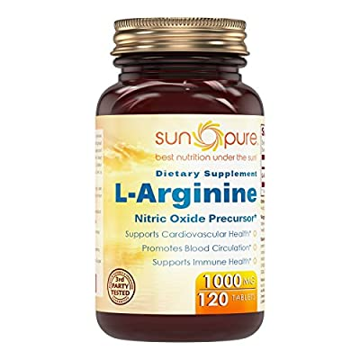Sun Pure Premium Quality L-Arginine 1000 Mg 120 Tablets Glass Bottle - Nitric Oxide Precursor * Supports Cardiovascular Health, Promotes Blood Circulation & Supports Immune Health* by Sun Pure