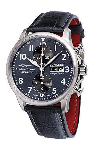 Junkers Herren Chronograph Automatik Uhr mit Leder Armband 6824S3
