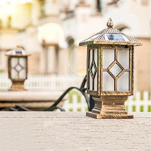 Lamp op zonne-energie 5 W LED zuil buitenverlichting Home Pillar Light landschap wandlamp waterdicht vintage brons antiek Chinese stijl