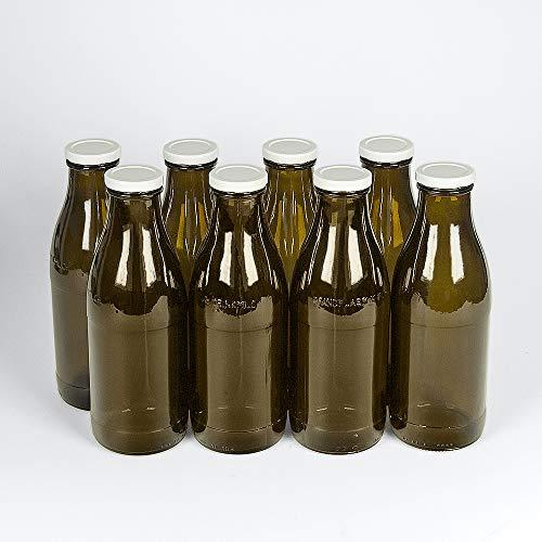 Flaschenbauer - 8 Milchflaschen 1 Liter mit Twist-Off-Schraubdeckeln in braun - Weithalsflaschen mit 1000 ml Volumen - geeignet als Saftflaschen, Smoothieflaschen und Milchflaschen
