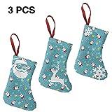 YudoHong 3 Piezas Set-Classic Christmas Stockings 7.5'Patrón de Navidad Vector Calcetines Decoración Árbol de Navidad Adorno Colgante