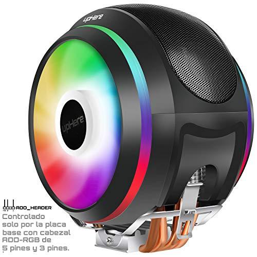 upHere 4 Heatpipes - Ventola per CPU ARGB, LED PWM da 2 x 120 mm, Supporto Intel e AMD (CCF150ARGB)