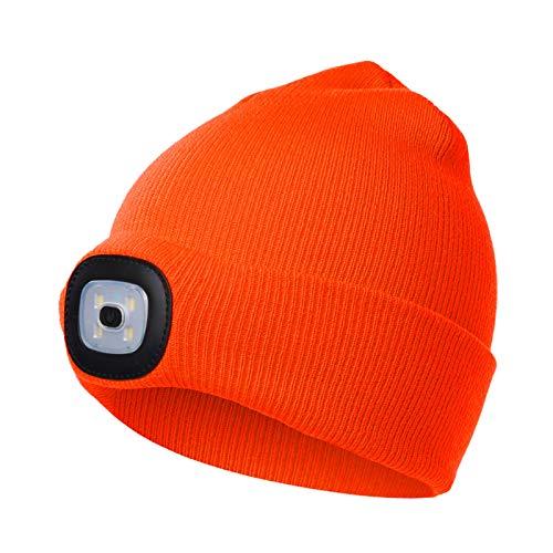 onehous Gorro con luz LED, unisex, recargable por USB, manos libres, con 4 luces LED, brillo ajustable, linterna para hombre, gorro de invierno cálido, gorro iluminado, color naranja