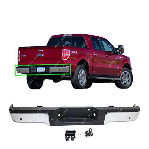 BUMPERS THAT DELIVER - Chrome, Steel Rear Step Bumper Assembly for 2009-2014 Ford F-150 w/Park Assist 09-14, FO1103166