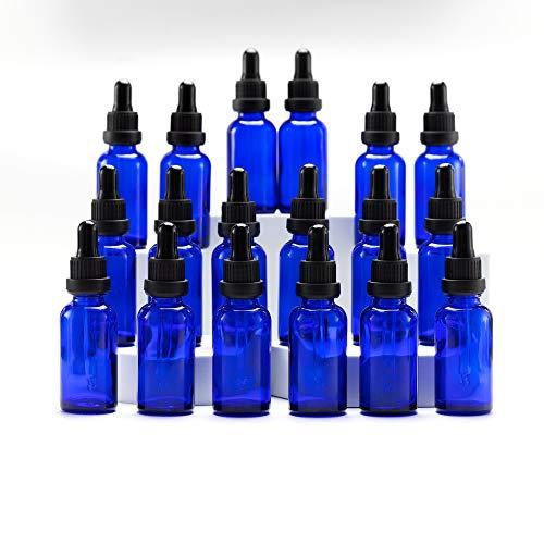 Yizhao Azul Frasco Cuentagotas Cristal 30ml, Botellas Cuentagotas con [Pipeta Cuentagotas Cristal], para Aceite Esencial, Masaje,Fragancia, Aromaterapia, Laboratorio - 18Pcs