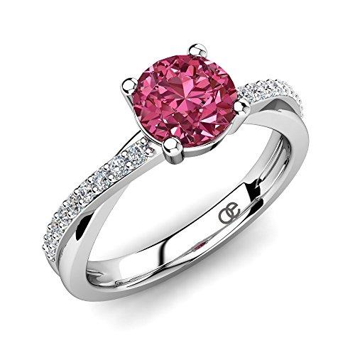 Silberring Douceur Pink Turmalin 0,80 ct AAA Qualität & Swarovski Kristalle + 925 Sterling Silber Verlobungsringe mit Pink Turmalin Hauptstein + Damen Ring mit Swarovski Steine + Frauen Geschenk