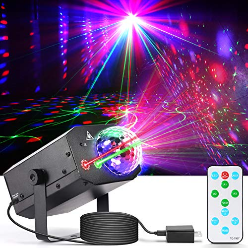 Party Lights Disco Ball Light, Dj Disco Lights LED Stage Light Projector Strobe Lights Sound Activated with Remote Control for Xmas Club Bar Parties Holiday Christmas Birthday Wedding Home Decoration