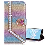 Nadoli Bling Custodia per Huawei Y5P,Diamante Bling Pelle Portafoglio Chiusura Magnetica Slot per Schede Perla Cuore Flip Caso Case Cover,Viola#