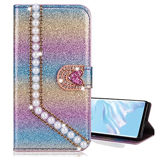 Nadoli Leather Case voor Galaxy J6 Plus 2018, Luxe Bling Glitter Diamant 3D Phone Case in portemonnee stijl vlinder bloemen Flip Cover Case voor Samsung Galaxy J6 Plus 2018, Rose Gold Samsung Galaxy J6 Plus 2018 Parel lila #