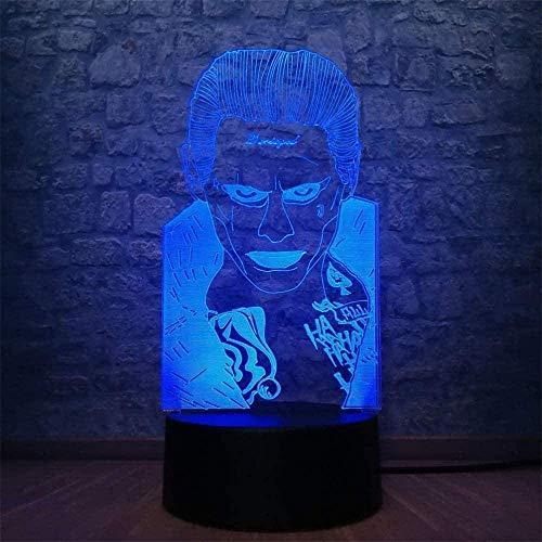 Joker Suicide Squad 3D LED Illusion Lampe Nachtlicht Optische Nachttisch-Nachttisch-Nachtlichter Beleuchtende Kinder-Lampe 16 Farbwechsel Touch-Taste USB-Kabel Dekoration Schreibtischlampen