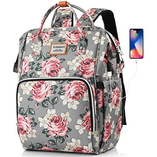 SUEBEKUE Rucksack Damen,Schulrucksack Mädchen Teenager Tagesrucksack Frauen Daypack mit 15.6 Zoll Laptopfach und RFID Schutz für Alltag Freizeit Universität Reisen