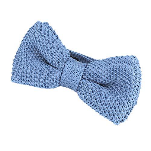 DonDon DonDon® Herren Strick Fliege gebunden und längenverstellbar 11 x 6 cm hellblau