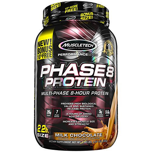 MuscleTech Phase8 Whey Protein Powder Blend, Sustained-Release 8-Hour Protein Shake for Men and Women, 26 Grams Protein, 5.6g BCAAs, Easy to Mix, Tastes Great, Milk Chocolate, 2.2 Pounds (24 Servings)