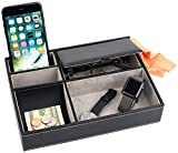 Mantello Leather Desktop Storage Organizer, Multi Catchall Tray, Valet Tray, Nightstand or Dresser Organizer - 5 Compartment Wallet, Phone, Keys, Jewelry, Money, Accessories - Anti-Scratch Felt Bottom