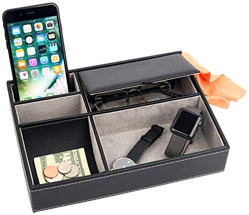 Mantello Leather Desktop Storage Organizer, Multi Catchall Tray, Valet Tray, Nightstand or Dresser Organizer - 5 Compartment Wallet, Phone, Keys, Jewelry, Money, Accessories - Anti-Scratch Felt Bottom