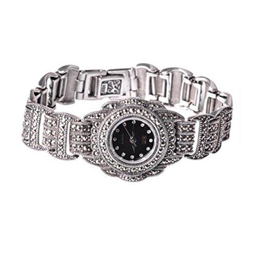 Jade Angel Reloj de pulsera de plata de ley para mujer, estilo vintage, pulsera de plata 925 con joyería de marcasita