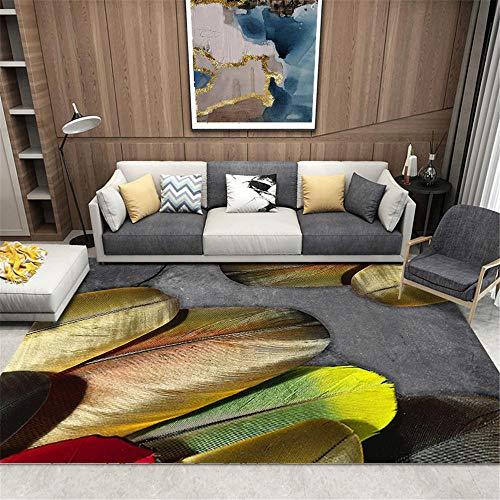 terasse Teppich gelb Salonteppich gelb Einfache große Federmuster Anti-Rutsch-Teppiche, einfach zu reinigen Teppich jugendzimmer mädchen 80X120CM Teppich für esszimmer 2ft 7.5''X3ft 11.2''