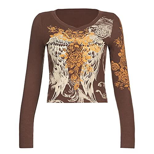 Yassiglia Sudadera de mujer corta camiseta casual de manga larga para mujer vintage Feather Wing Flower estampado cuello redondo Top, marrón, S