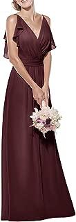 Jonlyc A Line Double V Neck Sleeveless Long Chiffon Bridesmaid Dress Wedding Party Dress