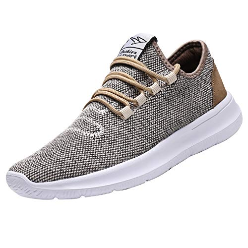 KEEZMZ Men's Running Shoes Fashion Breathable Sneakers Mesh Soft Sole Casual Athletic Lightweight (11, Beige)