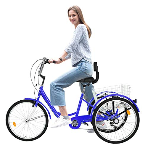 US Fast Shipment Adult Tricycles 7 Speed, Adult 24 Inch Mountain Trikes, 3 Wheel Bikes Bicycles Cruise Trike with Rear Shopping Basket for Seniors, Women, Men (Blue)