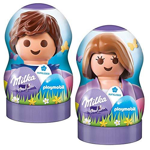 Milka & Playmobil Geschenkfigur – Mischung aus beliebten Milka zartschmelzenden Osterprodukten – Farbenfroher Mix in zwei zufällig ausgewählten Designs – 81g