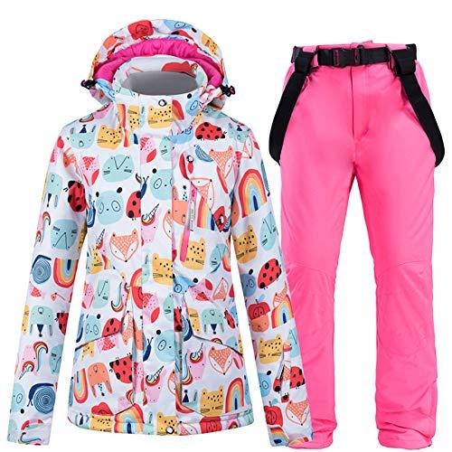 Skibroek Dames Winter Warm Snowsuit Ski Jacket + Suspenders Ski Broek Winddicht Waterdicht Warm Rits Snowboard Outdoor
