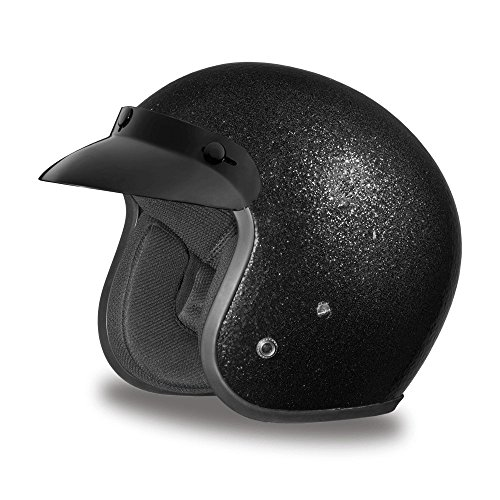 Daytona Helmets Motorcycle Open Face Helmet Cruiser- Black Metal Flake 100% DOT Approved