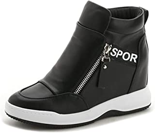 JOYBI Women Waterproof Ankle Boots Comfortable Zip Non Slip PU Leather Breathable Casual Wedge Sneakers