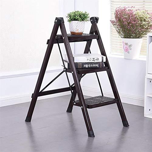 Inklapbare trap, stap 3 stalen ladder, vouwen, draagbaar met anti-slip mat, draagvermogen tot 330 lb zwart