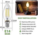 BIGHOUSE E14 LED Lampe, Kerzenform, 4W Ersetzt 35W Halogenlampen, 400 Lumen, 2700K Warmweiß, Filament Klar, 6 Stück - 5