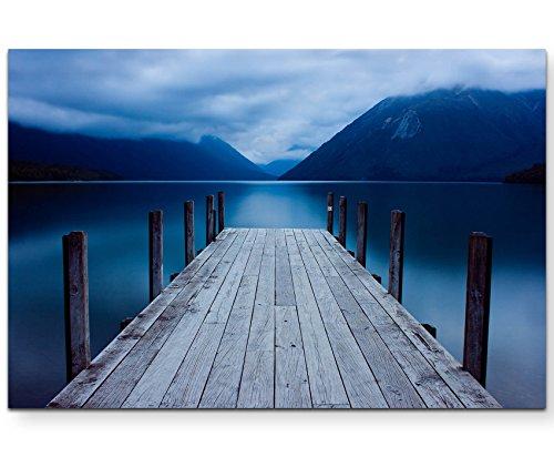 Paul Sinus Art Leinwandbilder | Bilder Leinwand 120x80cm Anlegestelle an einem Bergsee